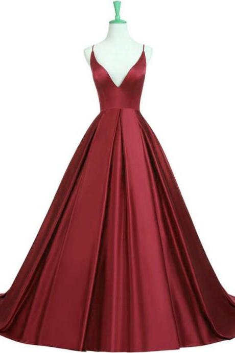 Custom Made Red Deep V-Neckline Satin Strappy Cami A-Line Long Formal Evening Dress, Formal Dress, Weddings, Prom Dress