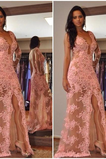 Sexy Lace Prom Dress With Slit, Prom Dresses,Graduation Party Dresses, Prom Dresses For Teens