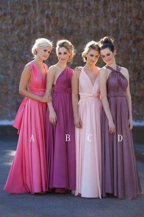 A-line sleeveless sash empire wasit bridesmaid dress,pink colorful bridesmaid dresses