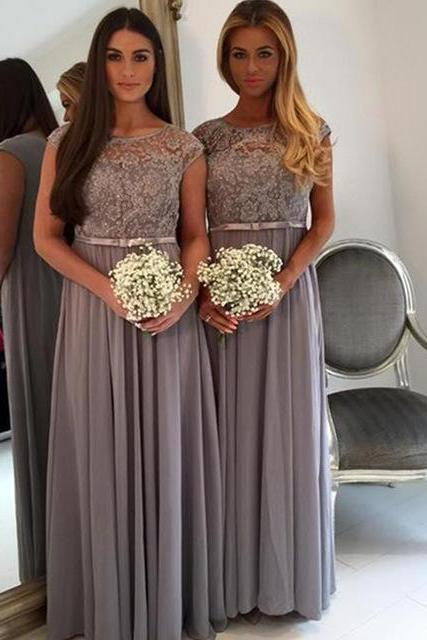 Cap sleeve bridesmaid dress, grey bridesmaid dress, long bridesmaid dress, modest bridesmaid dress, dress for wedding, popular bridesmaid dress, wedding guest dress, bridesmaid dress
