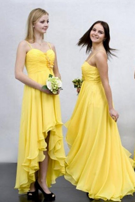 High-low Bridesmaid Dress,Chiffon Bridesmaid Dress,Yellow Bridesmaid Dress,Custom Made Bridesmaid Dress