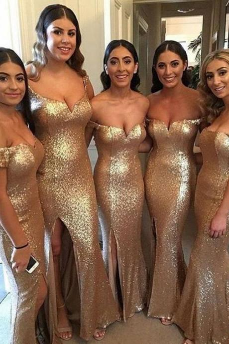 Off the Shoulder Split Side Gold Sequined Bridesmaid Dresses for Wedding