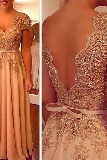 Short Sleeves Long Chiffon Prom Dress with Beading