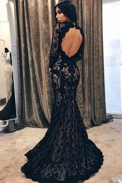 Mermaid Round Neck Open Back Sweep Train Black Lace Prom Dress with Beading