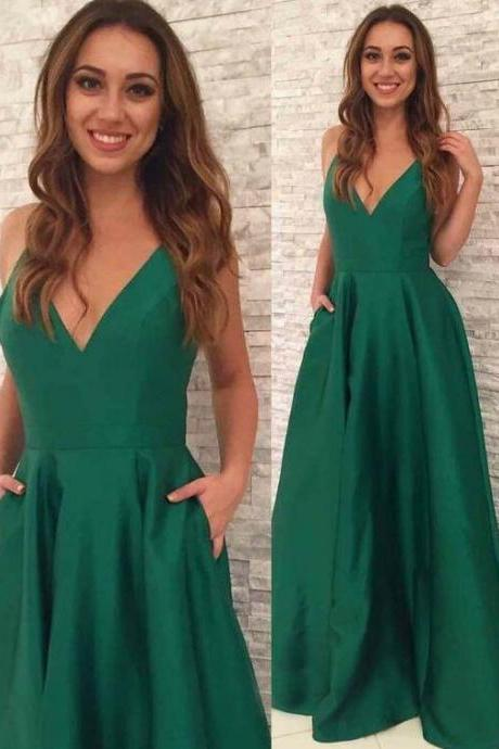 Long Prom Dress,V Neck Party Dress,Formal stain evening dress with pocket,fashion party dress,v neck homecoming gowns