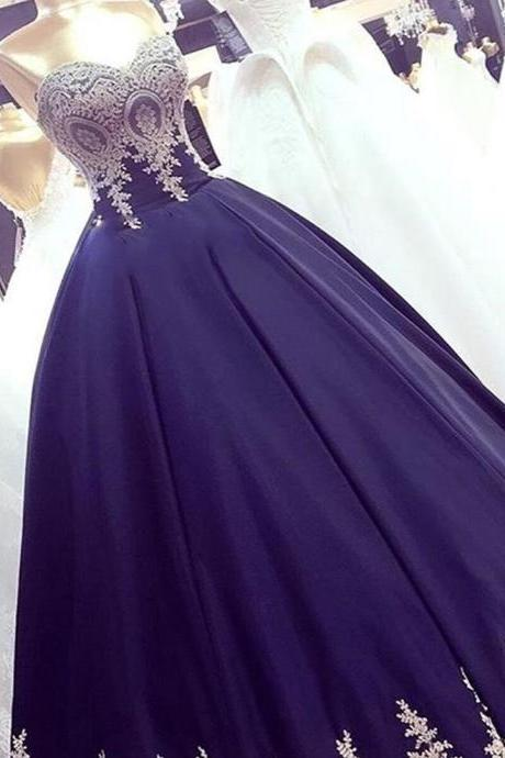 Navy Blue Appliques Ball Gown Prom Dresses, Elegant Sweetheart Formal Evening Dress
