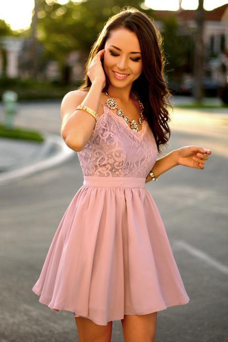 A-Line Spaghetti Straps Short Purple Chiffon Homecoming Dress with Lace Cheap Evening Dress A-Line Prom Dresses