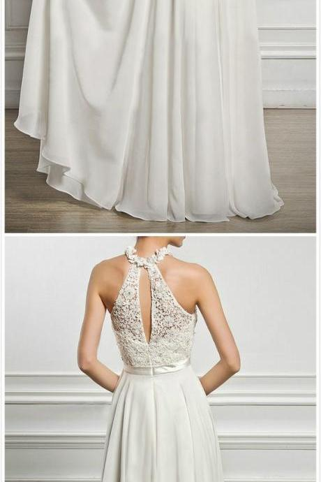 Charming White Prom Dress, Chiffon Long Party Dress, Halter Evening Dress