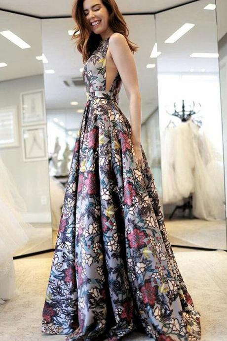 A-Line V-Neck Sweep Train Multi Color Printed Backless Prom Dress