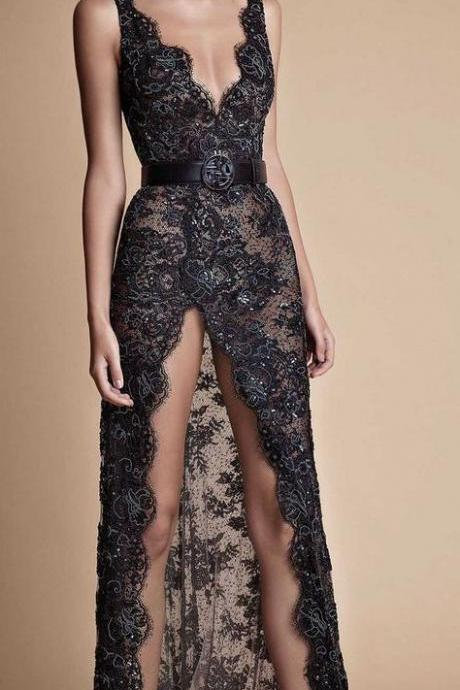 Long Deep V-Neck Evening Dresses,Long Spaghetti Lace Evening Dresses,Sleeveless Prom Dresses