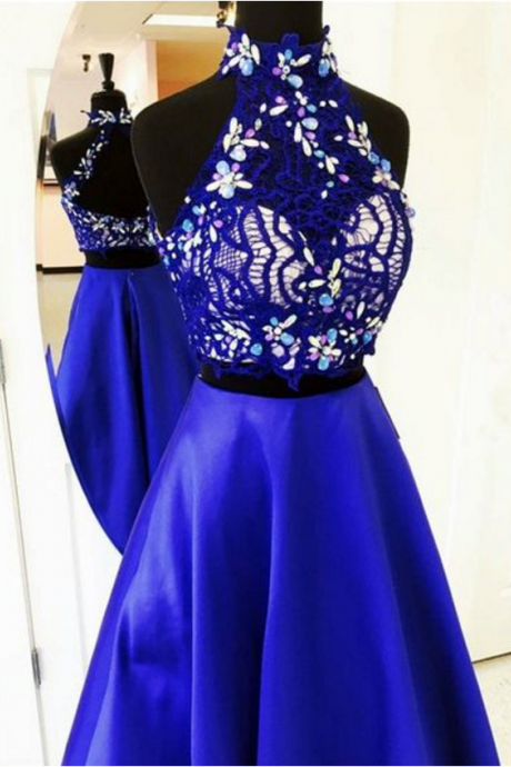 Lovely Two Piece A Line High Neck Open Neck Long Royal Blue Satin Prom/Graduation Dress With Beading/Lace
