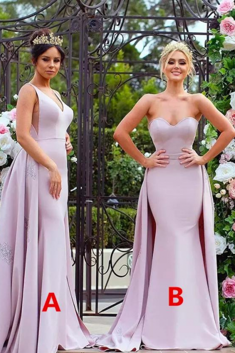 Stylish Appliqued Pink Long Bridesmaid Dresses Strapless Soft Satin Long Sleeve Wedding Guest Dress Maid Of The Honour Gowns