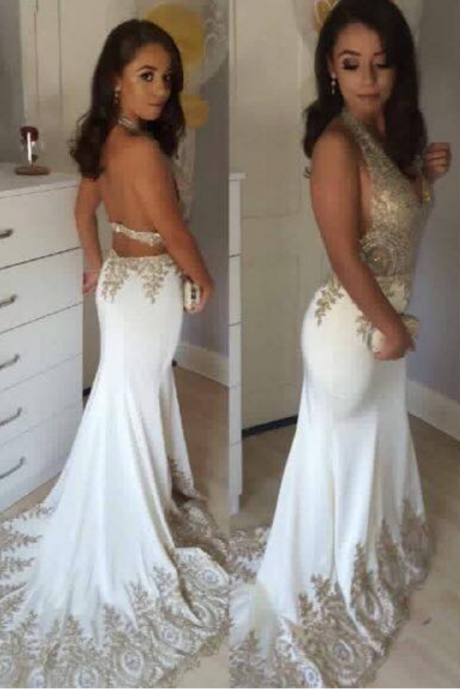 Sexy Mermaid Open Back Prom Dress,White Evening Dress,Mermaid Lace Party Dress