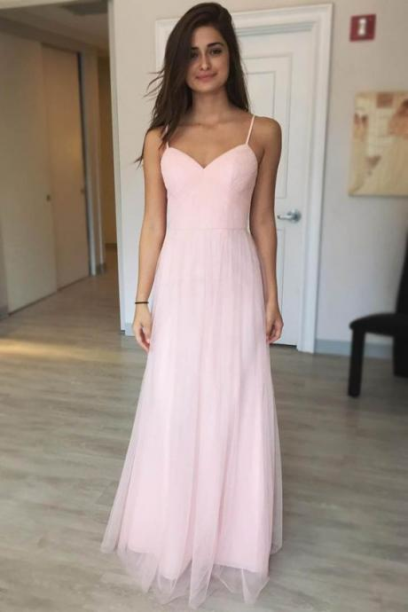 Pink Chiffon Sweetheart Spaghetti Straps Floor Length Tulle A-Line Prom Dress