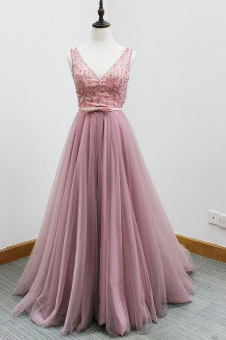 Beaded Embellished Plunge V Sleeveless Floor Length Tulle A-Line Prom Dress Featuring Beaded Embellished Belt and Open Back