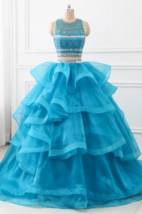 Ball Gown Quinceanera Dresses Two Pieces Sweet Princess Dresses Prom Party Dress with Beaded Ruffles
