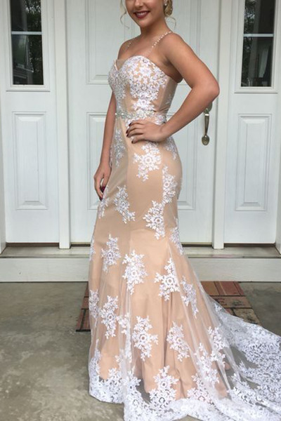 White Lace Appliques Champagne Sweetheart Floor Length Trumpet Evening Dress