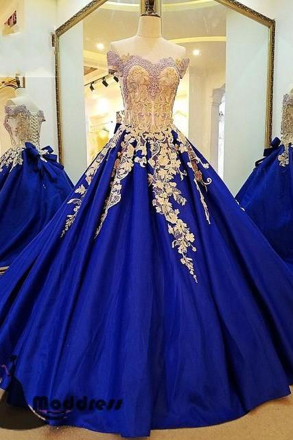 Royal Blue Prom Gown,Applique Prom Dress,Off the Shoulder Prom Dresses,Long Prom Dress A-Line Evening Dress,Ball Gown Prom Dress,Quinceanera Dress