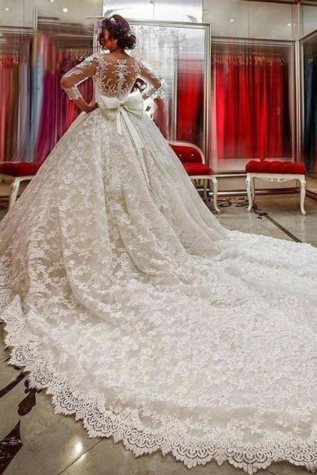 Neck Long Sleeves Lace Appliques Court Train Wedding Dress Lace Long Sleeves Scoop Neck Ball Gown Wedding Dress