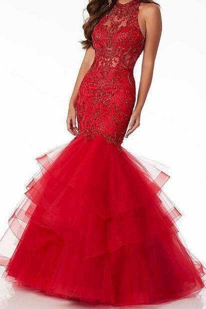 Chic Tulle Halter Neckline Cut-out Mermaid Prom Dress With Beadings