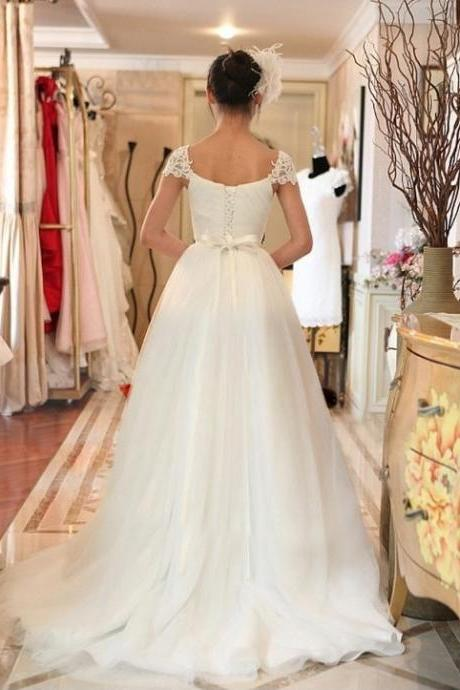 Bridal Dress Lace Cap Sleeves Ruched Sweetheart Neckline Wedding Dress with Removable Sash