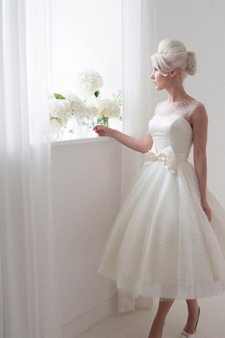 Short Polka Dots Wedding Dress with Bow