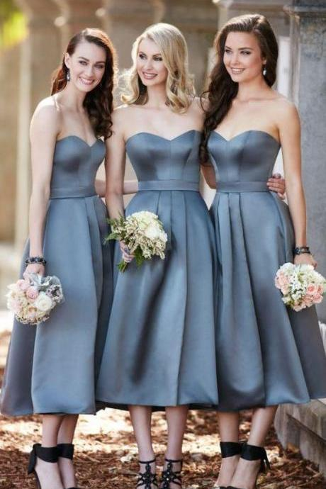 Tea Length Strapless Grey Bridesmaid Dress Midi Cocktail Party Dresses for Women