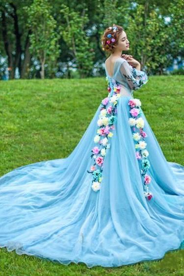TUlle Flowers Long Evening Dresses,Evening Gowns,Prom Dresses.Prom Dress,Homecoming Dresses
