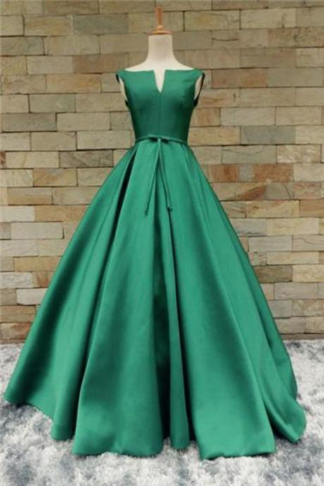 GREEN SATIN LONG V NECKLINE SENIOR PROM DRESS WITH BOWKNOT QPROM