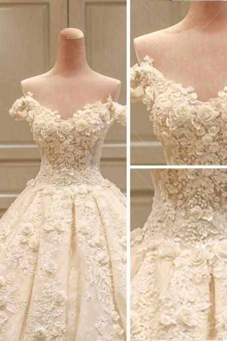 Amazing / Unique Champagne Wedding Dresses Ball Gown Lace Flower Backless Tulle Sweetheart Short Sleeve Hall