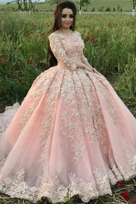 Charming Wedding Dress, Sexy Long Sleeve Tulle Ball Gown Wedding Dresses with Appliques Lace