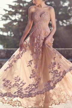 Champagne Lace Prom Dress, Sweetheart Tulle Evening Dress, Floor Length Prom Dress