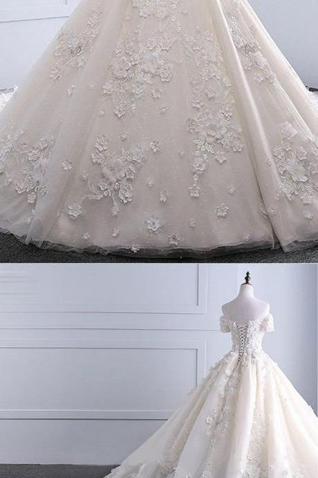Ivory strapless sweep train off shoulder lace wedding dress with sleeves