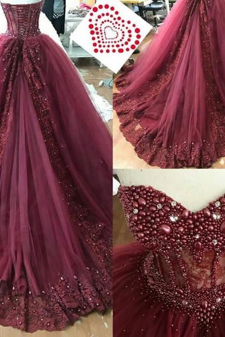 Boned Sweetheart Bridal Dresses with Luxury Crystal,Burgundy Lace Appliques Court Train Prom Dresses,Small Pearls Beaded Bridal Dresses