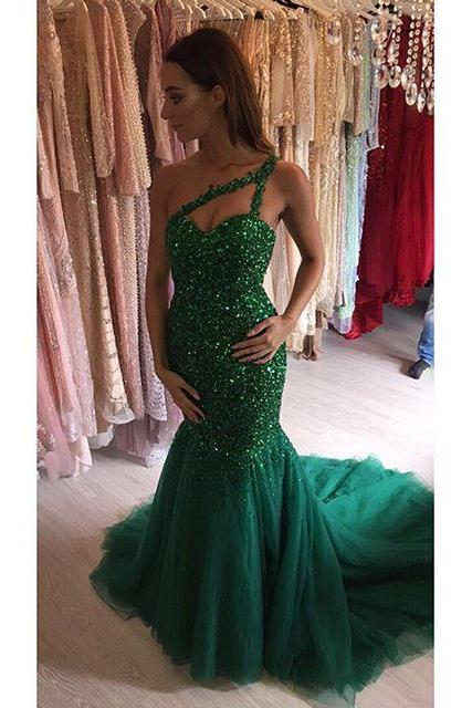 Green One Shoulder Mermaid Prom Dresses,Shinning Beads Crystal Prom Dresses,Lace Up Party Dresses,Luxury Prom Dresses