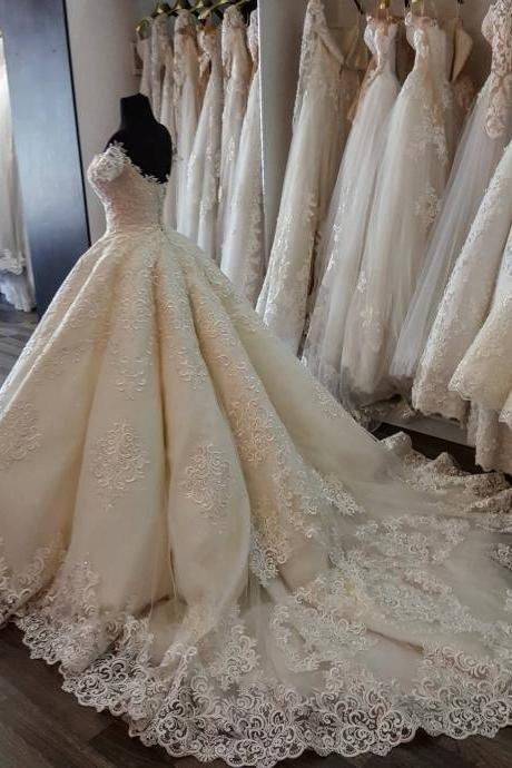 Short Sleeves Corset Lace Appliqued Wedding Dresses,Ball Gowns Bridal Dresses,Court Train Wedding Dresses,Most Fashion Luxury Wedding Dresses