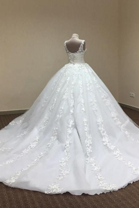 Wedding Dresses Ball Gown,Flower Lace Appliques Wedding Dresses,White Quinceanera Dresses,Cheap Wedding Gown
