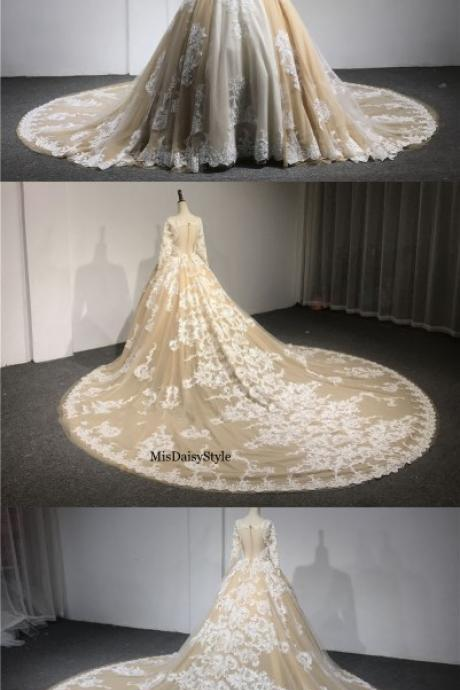 Ball Gown Champagne Wedding Dress,Long Sleeves Lace Wedding Dresses