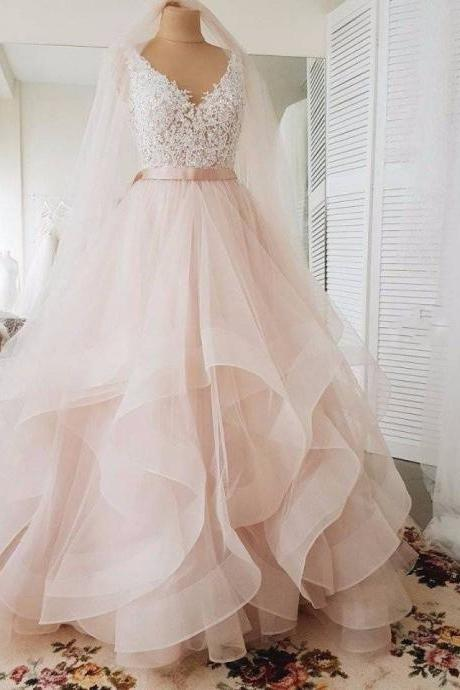 V-neckline Blush Wedding Dress,High Quality Lace Bridal Dress,Tiered Skirt Wedding Gown