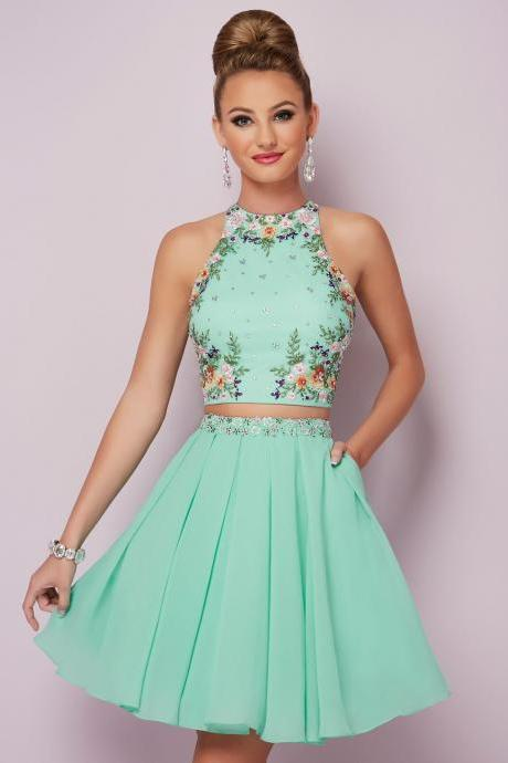 O-Neck Two Pieces Homecoming Dress,Sleeveless Embroider Short Prom Dress