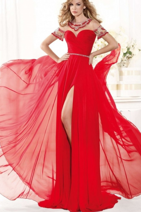 Sweetheart Beads Backless Split Side Sleeveless Capped Sheer Floor Length Evening Prom Dress