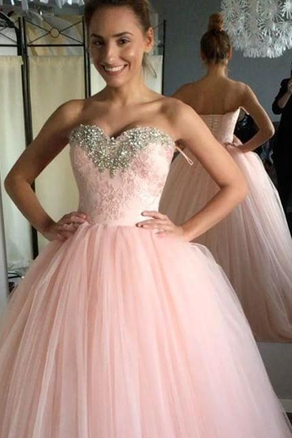 Long Prom Dress, Sexy Pink Ball Gown Prom Dresses,Tulle Quinceanera Dress