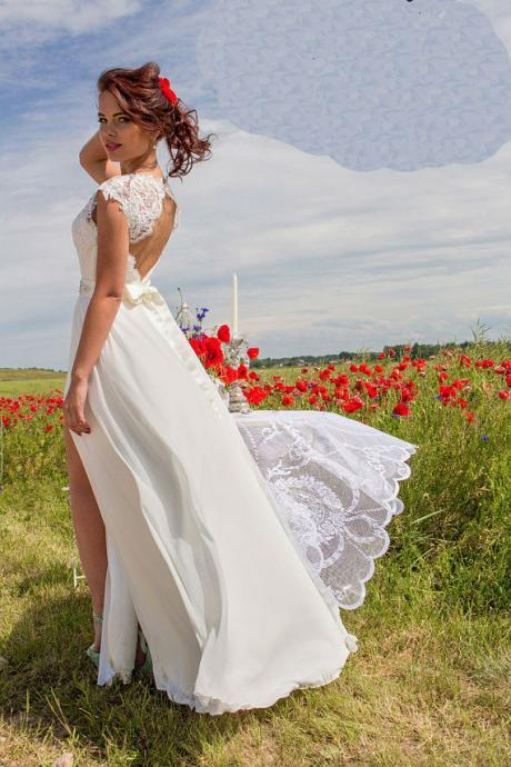 Wedding Dress,Wedding Dresses,Summer Wedding Dresses,Beach Wedding Dresses,Sexy V-Neck Open Back High Splits Lace Country Wedding Dresses