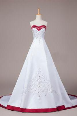 Sweetheart Neck A-line White Satin Bridal Gown Embroidery Beaded Wedding Dresses