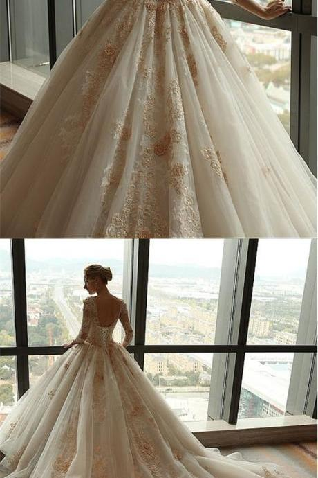 A-Line V-neck Backless 3/4 Sleeves Court Train Wedding Dress with Appliques
