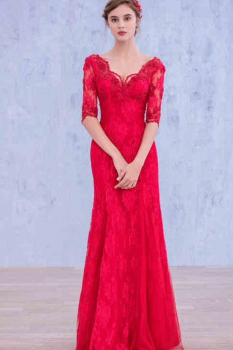 High Quality fashion elegant RED evening dress, fromal dress ,prom dresses, beaded evening dress beaded satin women pageant gown formal party dress
