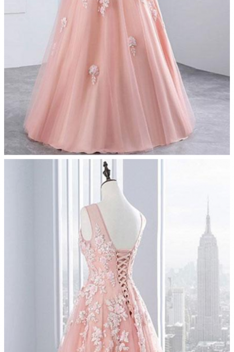 Custom Made Pink Sleeveless V-Neckline Tulle Floor Length Evening Dress, Prom Dress with Lace Applique