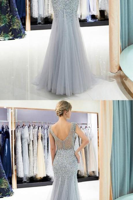 Luxurious Mermaid Bateau Sleeveless Sky Blue Long Prom Dress with Beading