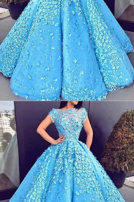 Elegang Blue Quinceanera Dresses, Appliques Quinceanera Dresses, Sweet 16 Dresses