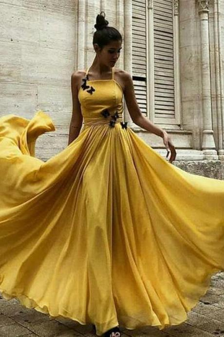 Yellow Long Prom Dresses Halter Formal Evening Party Dresses Online Sale